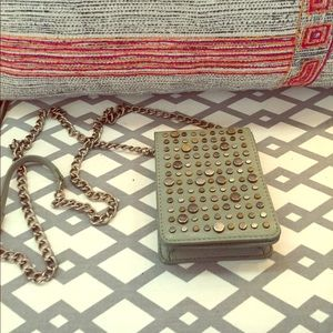 Crossbody Bag with Metal Design and Chain Strap